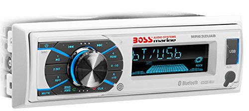 Boss Audio Systems MR632UAB Marine Receiver – Weatherproof, Bluetooth Audio and Hands-Free Calling, USB, MP3, AM/FM, Aux-in, No CD Player, RGB Multi-Color Illumination, Detachable Front Panel, White