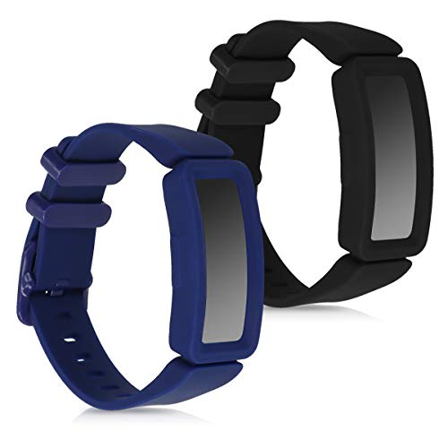 kwmobile 2X Sportarmband kompatibel mit Fitbit Ace 2 - Armband Fitnesstracker aus TPU und Silikon