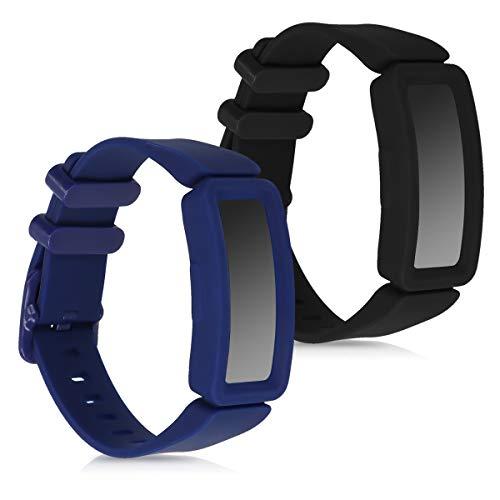 kwmobile 2X Pulsera Compatible con Fitbit Ace 2 - Brazalete de Silicona Negro/Azul Oscuro sin Fitness Tracker