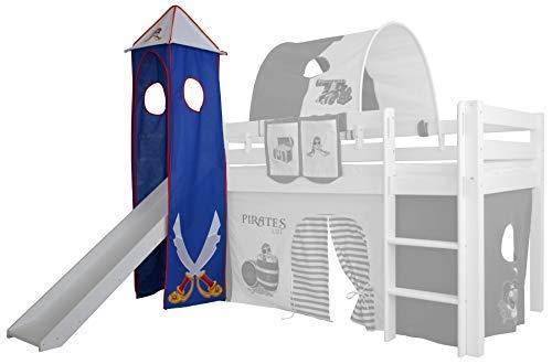 XXL Discount Turm-Vorhang 100% Baumwolle für Hochbett Spielbett Stockbett Kinderbett Kinderzimmer Spielturm mit Turmgestell (Blau/Weiß, Pirat)