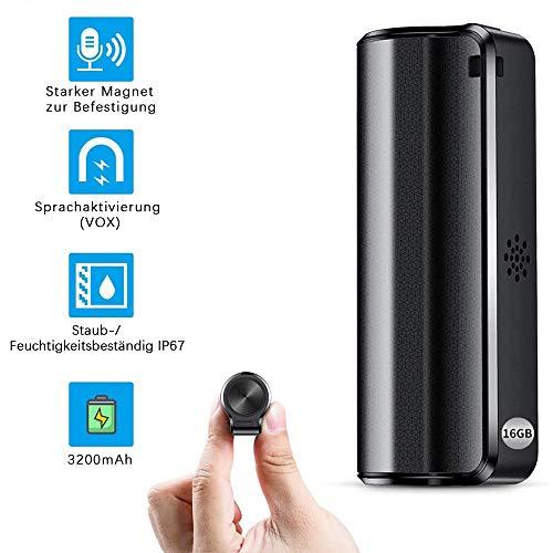 Mini Diktiergerät, Stimmenaktivierung 16GB Aufnahmegerät, 3200 mA, Eingebauter starker Magnet, 192 Stunden Aufnahmekapazität, mini voice recorder für Vorlesung, Interview, Meeting usw