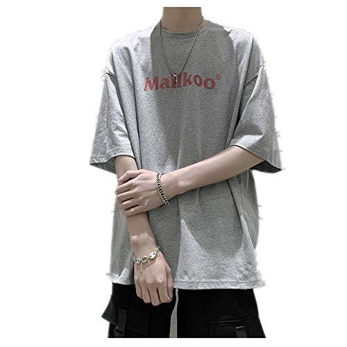 Camiseta de manga corta para hombre de manga corta suelta de media manga estilo corporal y ropa de verano original