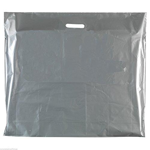 Kunststoff-Tragetaschen, robust, in 4 Größen, silberfarben, 100 Stück 29