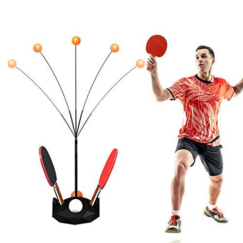 CestMall Entrenador de Tenis de Mesa con Eje Blando elástico, Juego de Tenis de Mesa portátil, Deportes de descompresión de Ocio con 2 Raquetas y 6 balones de práctica para Auto Entrenamiento