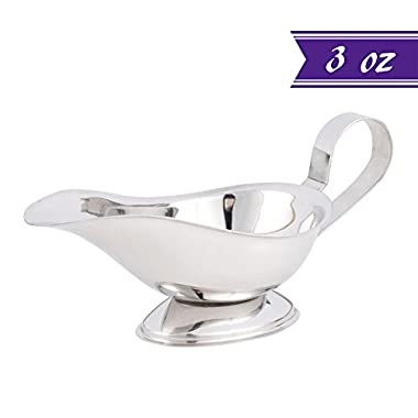 3 oz Gravy Boat, Stainless Steel Saucier with Ergonomic Handle and Big Dripless Lip Spout, Ideal for Serving Gravy or Sauce Commercial Quality Sauce Boats by Tezzorio