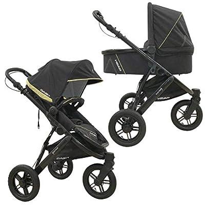 Knorr-baby Head - Cochecito de bebé de 3 ruedas gris gris oscuro y amarillo.
