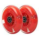 98mm Flashing Push Scooter Replacement Wheel Set, Upgrade Led Light Up Wheels for Razor Kick Scooter,2-Pack (Red)