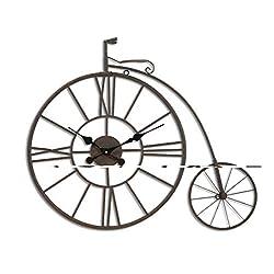 ZHENAI Vintage Iron Woll Clock Bicycle Tire Wall Clock Metal Wall Wall Decoration Quiet Battery Wall Clock