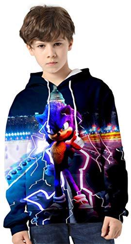 Silver Basic Kids Costume Sonic The Hedgehog Felpa con Cappuccio 3D Casual Shirt,Sonic 6754-1,160