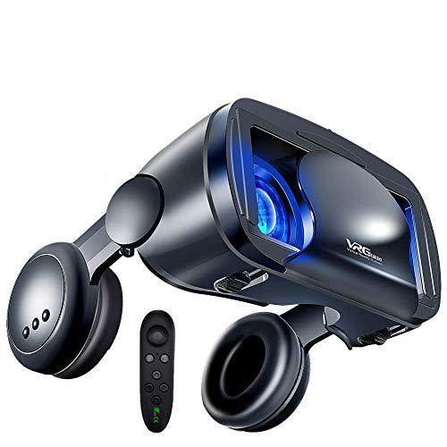 Occhiali 3D VR, Realtà virtuale 3D VR, Occhiali 3D VR con controller Bluetooth e cuffie, HD Virtual Reality per film e giochi 3D, per Smartphone Android e iPhone, adatti smartphone da 5,0-7,0 pollici