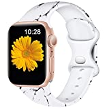 Easuny Compatible with Apple Watch Bands 40mm 38mm Womens Girls - Cute Fadeless Floral Soft Pattern Printed Silicone Replacement Wristband for iWatch SE & Series 6/5/4/3/2/1 Men,Marble, S/M