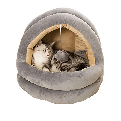 ZPF Yurt Cat Nest, Four Seasons Universal Closed Cat Nest, Ecofriendly Cat Cave con Bouncy Ball, Adecuado para Mascotas pequeñas y Medianas