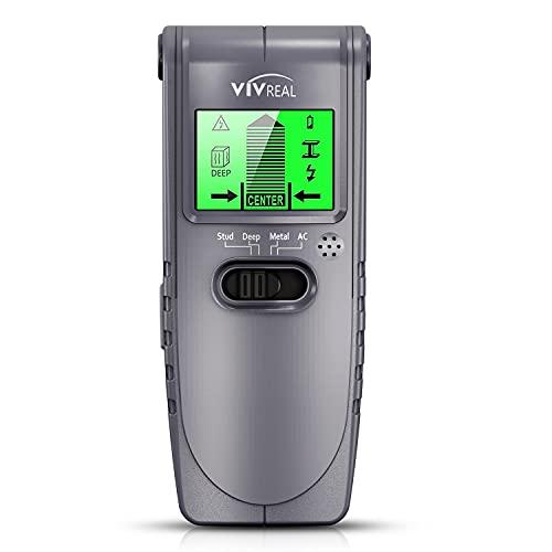 LCD 디스플레이와 사운드 경고가 있는 1개의 벽 검출기에서 스터드 파인더 센서 벽 스캐너 VIVREAL 4 WOOD AC 와이어 금속 스터드 검출을 위한 빔 스터드 파인더 센터 찾기 및 자동 보정
