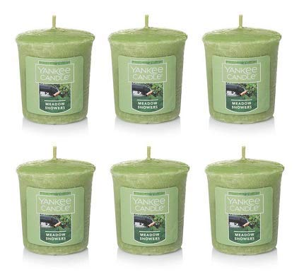 Yankee Candle Lot of 6 Meadow Showers Samplers Votive Candles 1.75 Oz. Each.