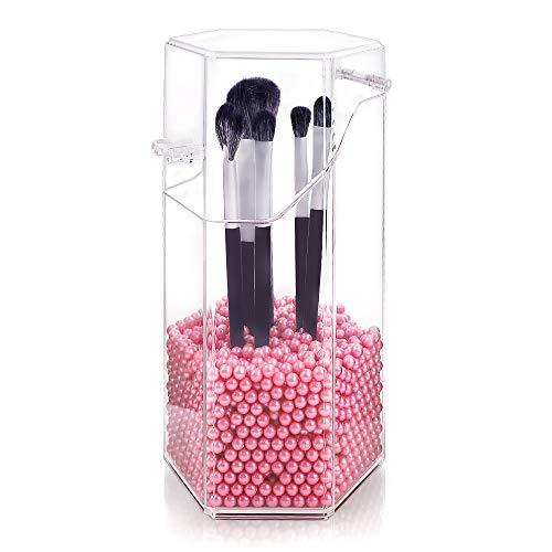Organizador de maquillaje, organizador de brochas de maquillaje acrílico con un paquete de perlas de almacenamiento de brochas de maquillaje con tapa para cuarto de baño dormitorio(perla rosa)