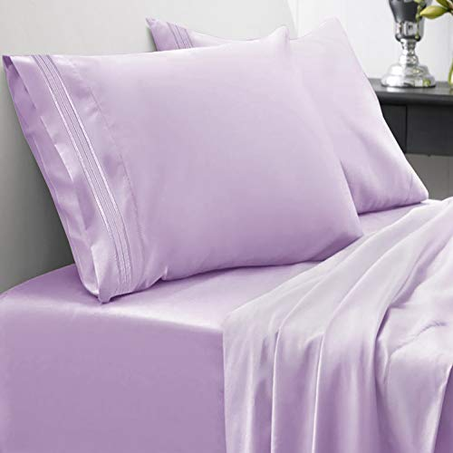 1800 Thread Count Sheet Set – Soft Egyptian Quality Brushed Microfiber Hypoallergenic Sheets – Luxury Bedding Set with Flat Sheet, Fitted Sheet, 2 Pillow Cases, Queen, Lavender