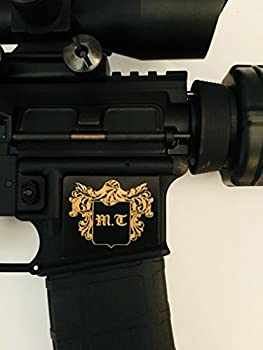 Tejas Products AR-15 Lower Magwell Customized Decal Sticker - Black - Shield with White Knight