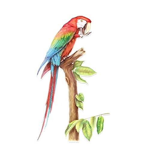 Maksim-003 9.2 * 15.9cm Parrot fresco en una etiqueta engomada del coche de la decoración de PVC de la rama Pegatina de color personalizada
