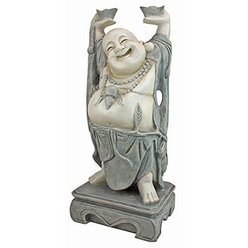 Design Toscano KY356 Jolly Hotei Laughing Buddha Asian Decor Garden Statue, 25 Inch, Two Tone Stone