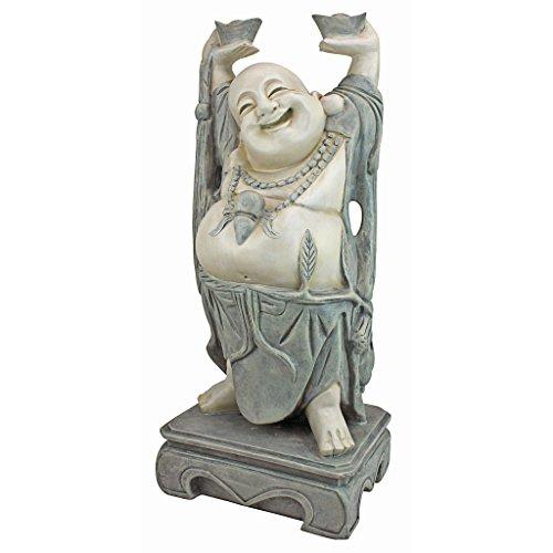 Design Toscano Bouddha Souirant Joyeux Hotei Statue de Jardi