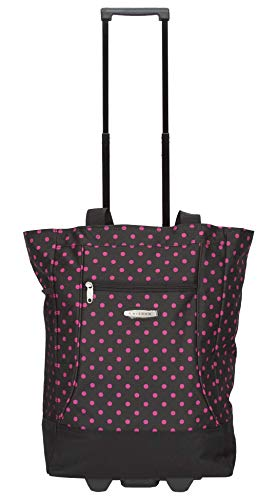 Shopping Tote Bag with Wheels (Black-Pink-Dot)