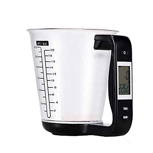 LXESWM Digitale weegschaal, keuken en maatbeker, afneembaar, vaatwasserbestendig, maatbeker voor keuken thuis, gebruik, volume, gewicht meetinstrument 14 x 12 x 7,5 cm