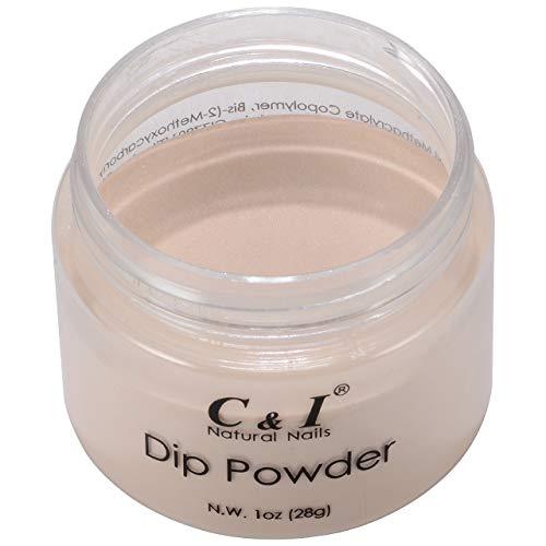 C & I Dip Powder Tauchen Pulver, Farbe # 24 Kokosnuss, Gelnägel Effekt, Pulver für Nagellack, Nackt Farbsystem, 1 oz / 28 g