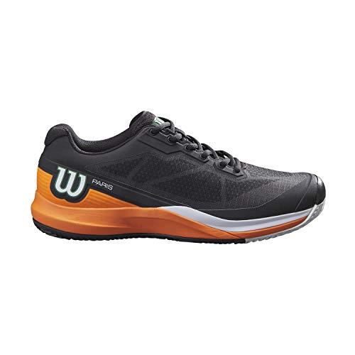 Wilson Zapatillas de deporte para hombre, RUSH PRO 3.5 Clay PARIS, Negro/Naranja/Blanco, 47 1/3, para pista de tierra batida, todo tipo de jugadores, WRS327830E120