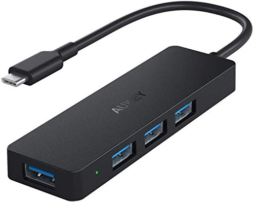 AUKEY USB C Hub mit 4 USB 3.0 Anschlüssen Ultra Slim USB C Adapter für MacBook Pro 2019/2018, Google Chromebook Pixelbook, Dell XPS,Samsung S9/S8 und Andere Type C Geräte