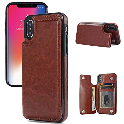 iPhone X/XS Wallet Case, iPhone X/XS Case with Credit Card Holder, JOYAKI Slim PU Leather Case with Card Slots, Protective Case with a Screen Protective Glass for iPhone X/XS 5.8 inch-Brown