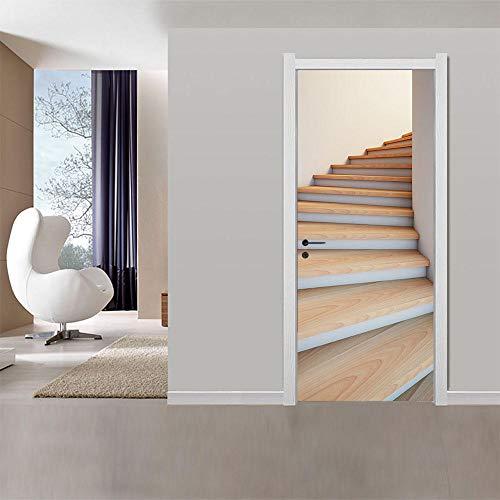 Pegatinas Mural de Puertas 3D Escalera de caracol,Autoadhesivo de Bricolaje PVC Póster para Guardería 77x200cm Papel Pintado Mural para Dormitorio Salón, Arte Moderno Decor