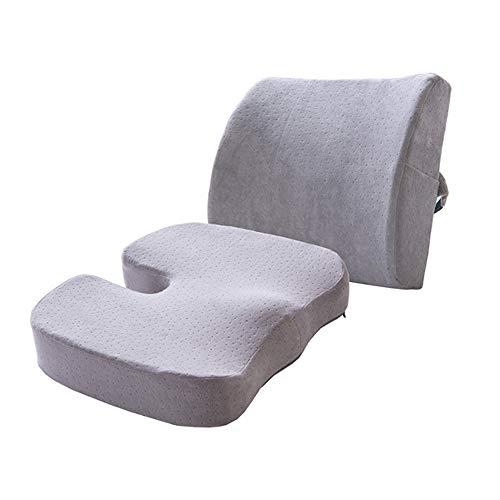 SEGIBUY zitkussen & Lumbar ondersteuning voor bureaustoel, auto, rolstoel, Memory Foam kussen, wasbare hoezen, set van 2