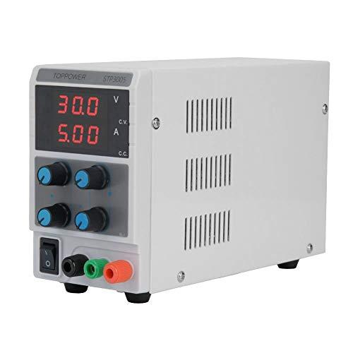 Alimentación de laboratorio ajustable, 0-30 V 0-5 A, salida de alimentación digital regulable DC con pantalla 3 LED, toma de 100-240 V UE