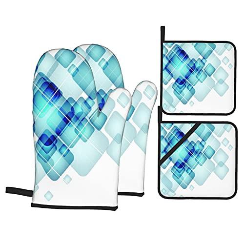 Cuadrados de Color Azul Abstracto con Bordes Redondos y líneas TEM,4Pcs Guantes de Cocina y Juegos de Soportes para Macetas,con Caliente Almohadillas para Cocinar,Hornear,Asar a la Parrilla Guantes