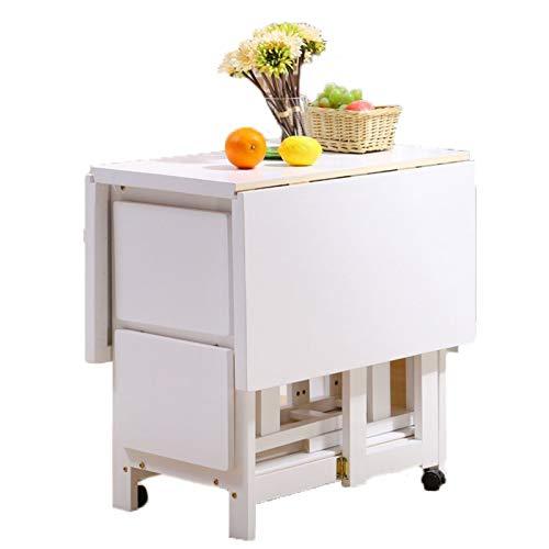 JIADUOBAO Juego de 4 taburetes de mesa de comedor plegable de madera maciza para muebles de cocina de madera natural para grandes espacios pequeños (color: blanco)