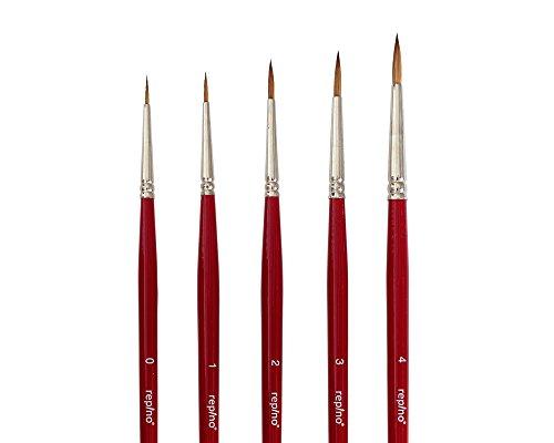 5 feine Rotmarderpinsel Künstlerpinsel Rotmarder Pinsel Set Spitzpinsel Grösse 0, 1, 2, 3 und 4 Pinselset für Aquarell Modellbau Öl Acryl Detail