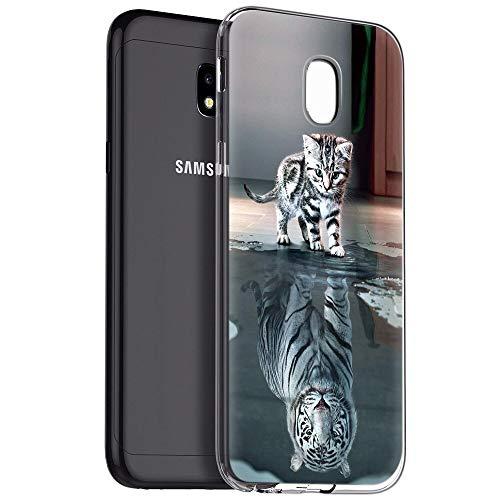 Zhuofan Plus Cover Samsung Galaxy J3 2017, Custodia Clear Silicone Soft Transparent Tpu Gel con Design Print Pattern Antigraffio Antiurto Protactive Cover per Samsung Galaxy J3 2017, Tigre di Gatto