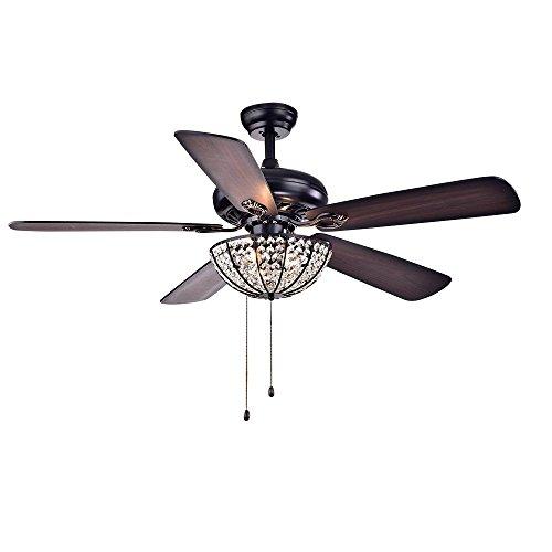 Ventilateur de Plafond Moderne Avec Lumière 5 Lames 6 Ampoule Ventilateur Lustre Perle Boîtier en Métal Noir Abat-Jour en Cristal Muet Éclairage Ventilateur Intérieur (52-inch B1)