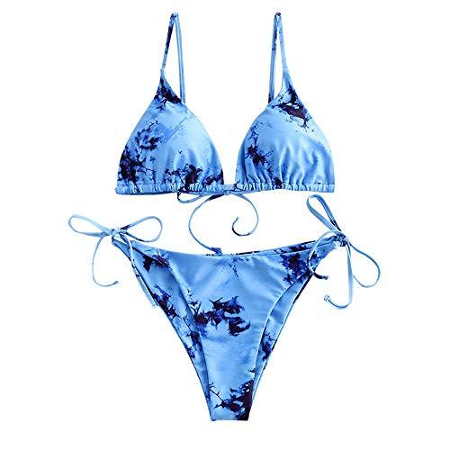 ZAFUL Gepolsterte Zweiteiliger Bikini Set, Tie-Dye-Druck Spitze Dreieck Cup Niedrigtaile gebundene Badeshorts (Tie-Dye Blau, M)