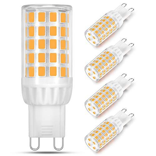 Bombilla LED G9 de 5W Equivalente a 40W 50W 60W Lampara Halógena, Blanco Cálido 2700K, Bombilla de Casquillo G9, 500LM, Sin Parpadeo, No Regulable, Ángulo de Luz de 360°, Pack de 4 Unidades