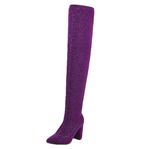 MISSUIT Damen Stretch Overknee Stiefel High Heels Blockabsatz Stiefel Ohne Verschluss Langschaftstiefel Spitze Schuhe(Lila,45)