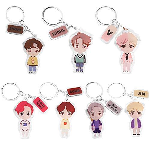 BAIBEI BTS Porte-Clés, Porte-clés avec Personnage Bangtan Boys Keychain Hot Gift pour A.R.M.Y, 7pcs