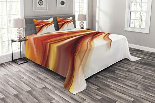 ABAKUHAUS Abstrakt Tagesdecke Set, Unscharfe Smock Kunst Rays, Set mit Kissenbezügen Maschienenwaschbar, für Doppelbetten 220 x 220 cm, Orange Red