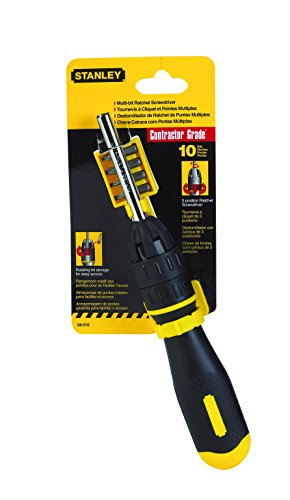 Stanley Tools 68010 3 inch Multi-Bit Ratcheting Screwdriver, 10 Bits, Black/Yellow