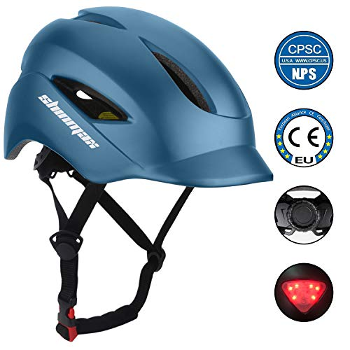 KINGLEAD Casco de Bicicleta con luz LED Unisex Casco de Bicicleta Protegido para Carreras de Ciclismo Skateboarding al Aire Libre Seguridad superligero Ajustable Certificado CE Hombre Azul