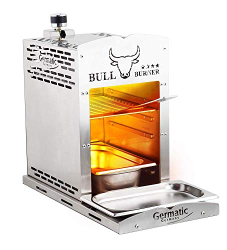 Germatic Steaker Gasgrill 800 Grad V2a Edelstahl rostfrei Bull Burner