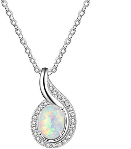 Colgante de ópalo , collar de plata 925 para mujer, forma ovalada de ópalo blanco, joyería de moda, regalos de cumpleaños, bodas para amantes de la novia
