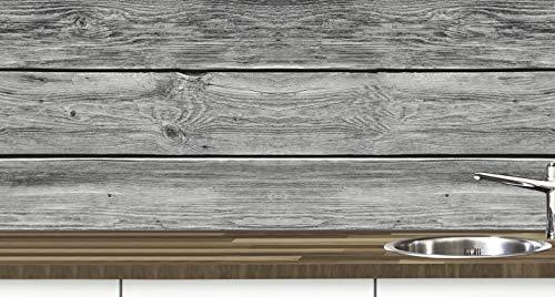 KLINOO Küchenrückwand aus Folie in Holzoptik als Spritzschutz - zuschneidbar und erweiterbar - 97cm x 68cm (Holz grau)