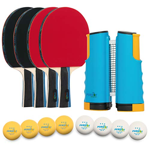 Ping Pong Paddle Set of 4 Complete Table Tennis Set  Professional paddles with ITTF approved rubber 3Star ABS balls Regulation Portable Ping Pong Net Portable Bag Indoor or Outdoor