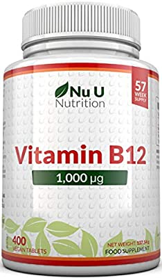 Vitamin B12 1000mcg - High Strength B12 Methylcobalamin - 400 Vegetarian & Vegan Tablets (13 Month Supply) - Contributes to The Reduction of Tiredness & Fatigue - Made in The UK by Nu U Nutrition
